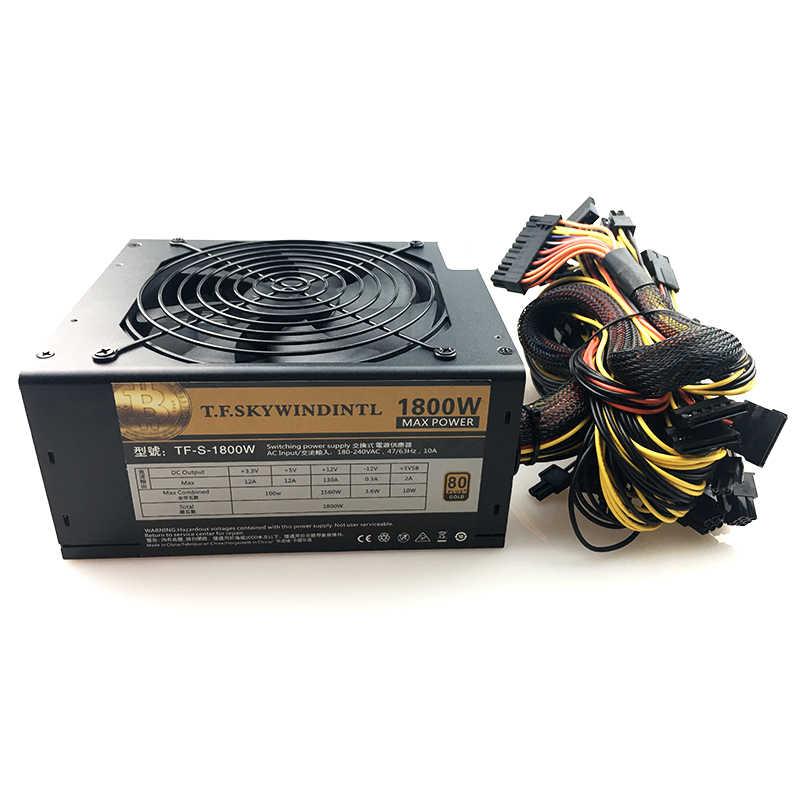 ATX PSU 1800W Modular Power Supply untuk ETH Rig Ethereum Koin Mining Miner 180-240V PSU Pertambangan rig 24P untuk PC Dll Za Zcash