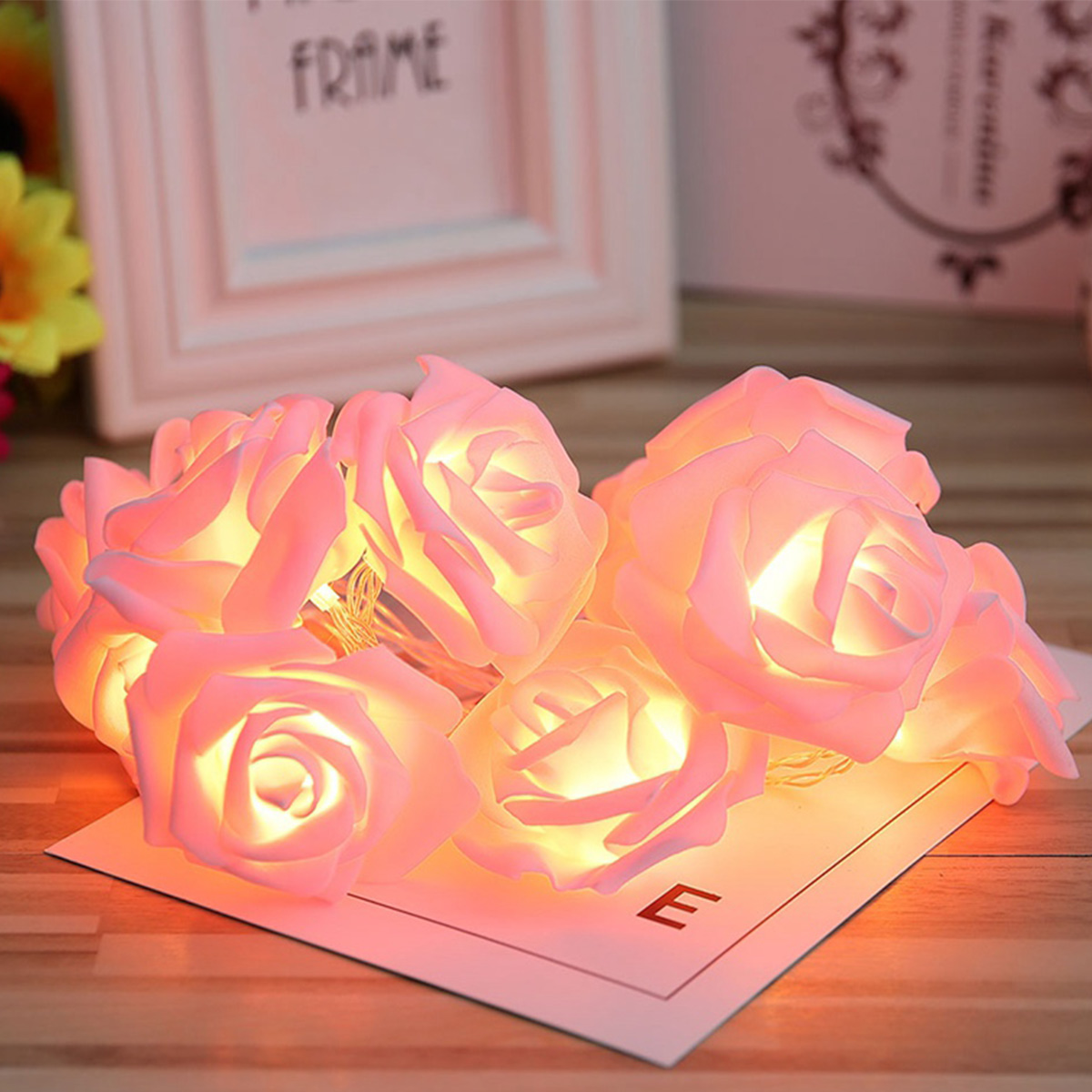 10/20 Leds Rose Flower String Light Led Fairy String Christmas Wedding Valentines Day Event Party Garland Holiday Lighting Decor