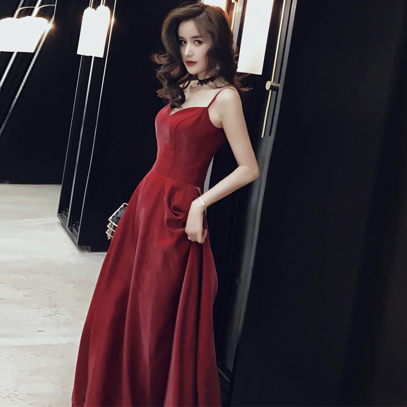 2020 Time-limited Toast Dress The Bride 2020 Wine Red Nobility Banquet Evening Wear Long Thin Skirt With Shoulder-straps Host