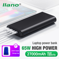 LLANO Power Bank 27000mAh QC3.0 PD Fast Laptop Charger 65W Powerbank USB/Type C Poverbank Quick Portable External Mobile Battery