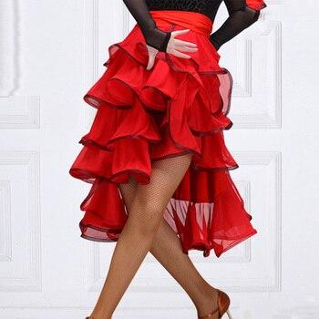 Latin Dance Skirt Adult Female Spanish Bullfight Skirt Bandage Hip Scarf Flamenco Performance Clothing Exercise Skirt DL5523