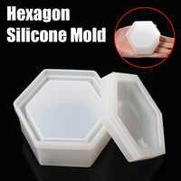 1 pieza nuevo collar de joyería hexagonal de silicona transparente caja almacenamiento Molde de resina molde de fundición herramientas de manualidades diy