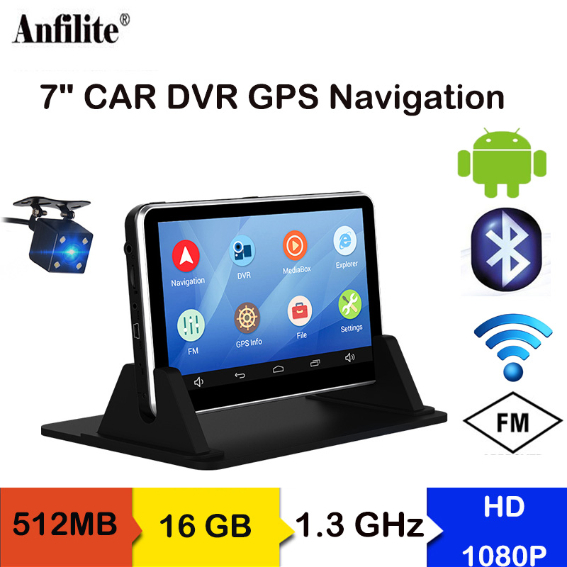 Anfilite 7 Inch Car DVR Android GPS Navigation Capacitive 512MB 16GB Bluetooth WIFI Russia Europe Map Truck Vehicle Navigator