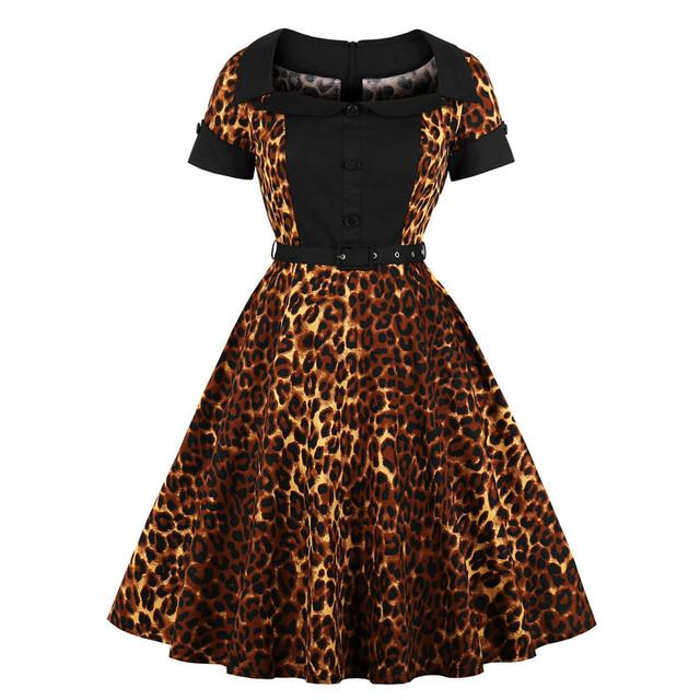 Women Short Sleeve Leopard Printing Vintage Evening Party Midi Swing Dress Vestidos Verano 2020 Mujer Dress Plus Size Summer