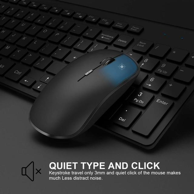 2.4g recarregável teclado sem fio e mouse, fino, mouse, conjunto de combinação para notebook, mac, desktop computador, tv escritório suplie 2