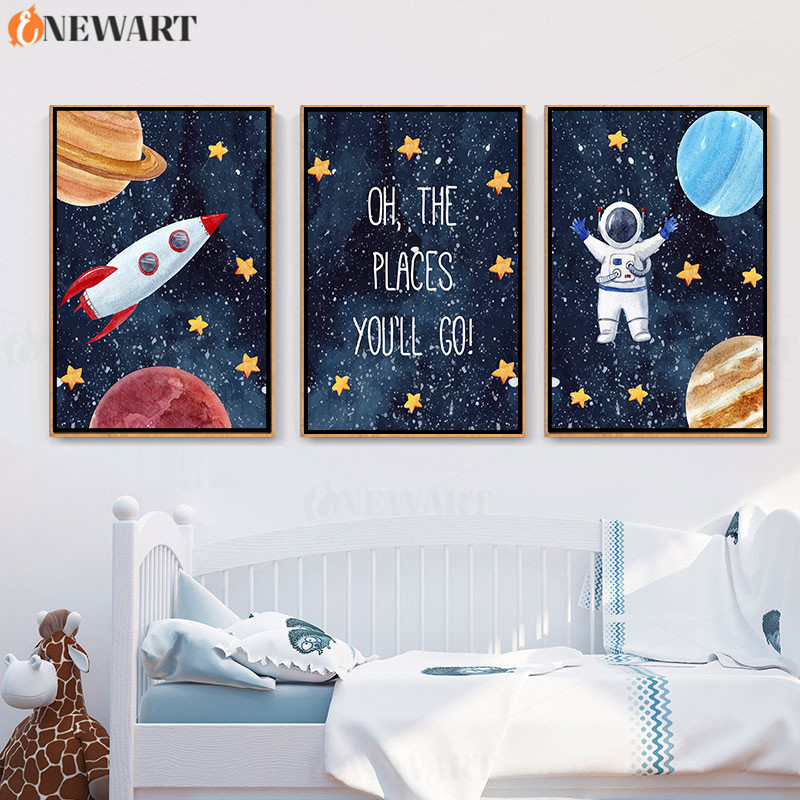 Baby Nursery Wall Art Nodic Decor Cartoon Astronaut Space Rocket Picture Kids Bedroom Decoration Poster Canvas Painting Painting Calligraphy Aliexpress