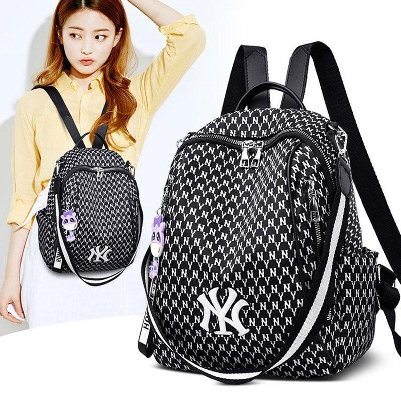 Women Backpack Anti-theft Fashion Wear-resistant Breathable Zipper Female Bagpack Cute Pendant Nylon Designer Bags For Girls