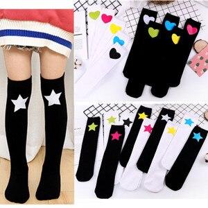 Image 1 - Baby Grils Star Love Knee High Socks Football Stripes Cotton School White Black Socks Skate Children Long Tube Leg Warm 1.3kg#43