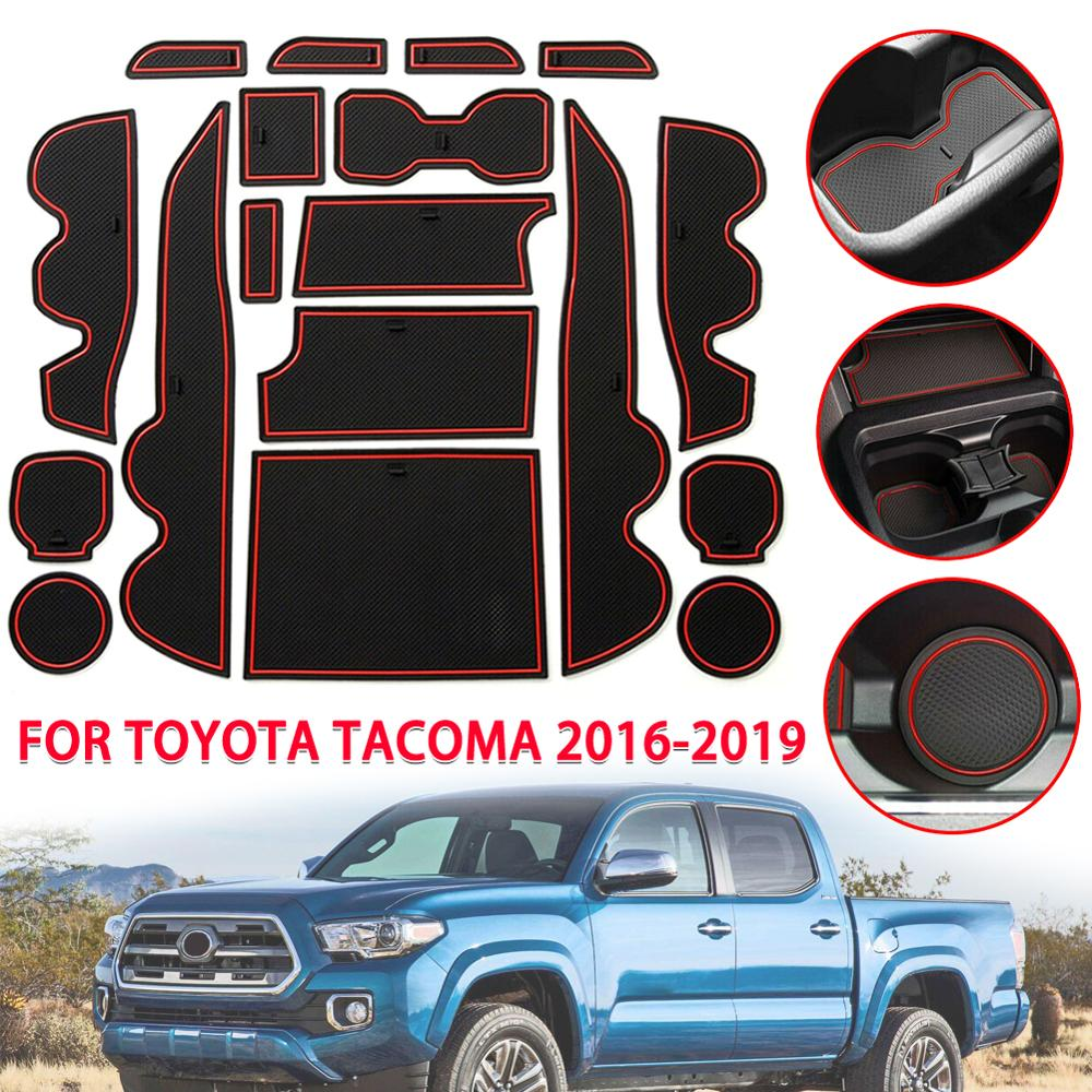 Door Center Console Liner Accessories Cup mat for Toyota Tacoma 2019 2018 2017 2016 18PC Set JIECHEN Custom Fit Cup Carbon Fiber Pattern - White