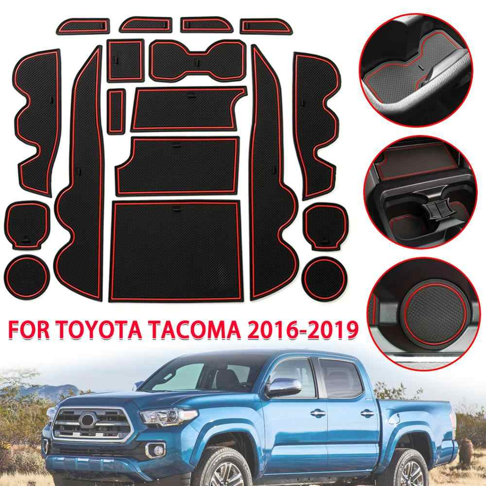LLKUANG for Toyota Tacoma 2016-2020 Cup Holder Center Console Door Pocket Inserts 18PCS,red Lines