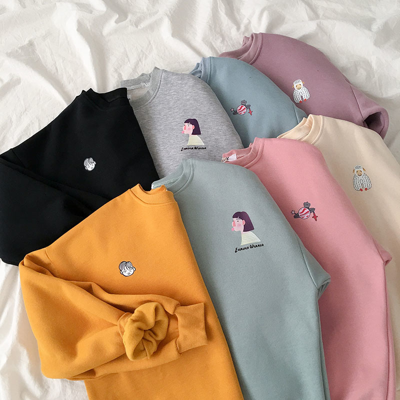 Thickening Cute Pattern Sweatshirt Women Casual Fashion Oversize Purple Yellow Harajuku Pullover Female Korean Autumn Winter Top