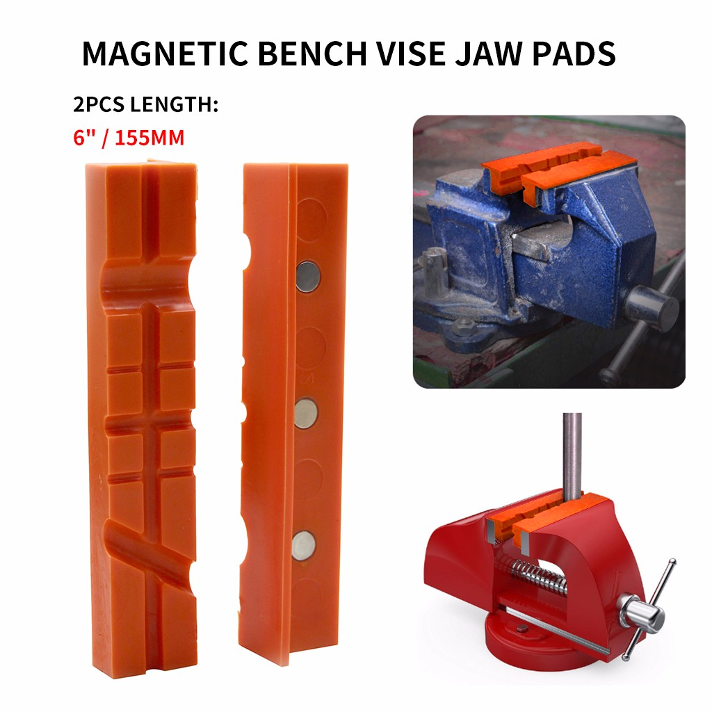 High Quality Pair Of Magnetic Soft Pad Jaws Rubber For Metal Vise 6 Inch Long Pad Bench Vice 2019 New(China)