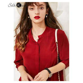 цена Silviye Silk shirt female long sleeve fashion westernized party shirt small shirt red shirt blusas mujer de moda 2020 онлайн в 2017 году