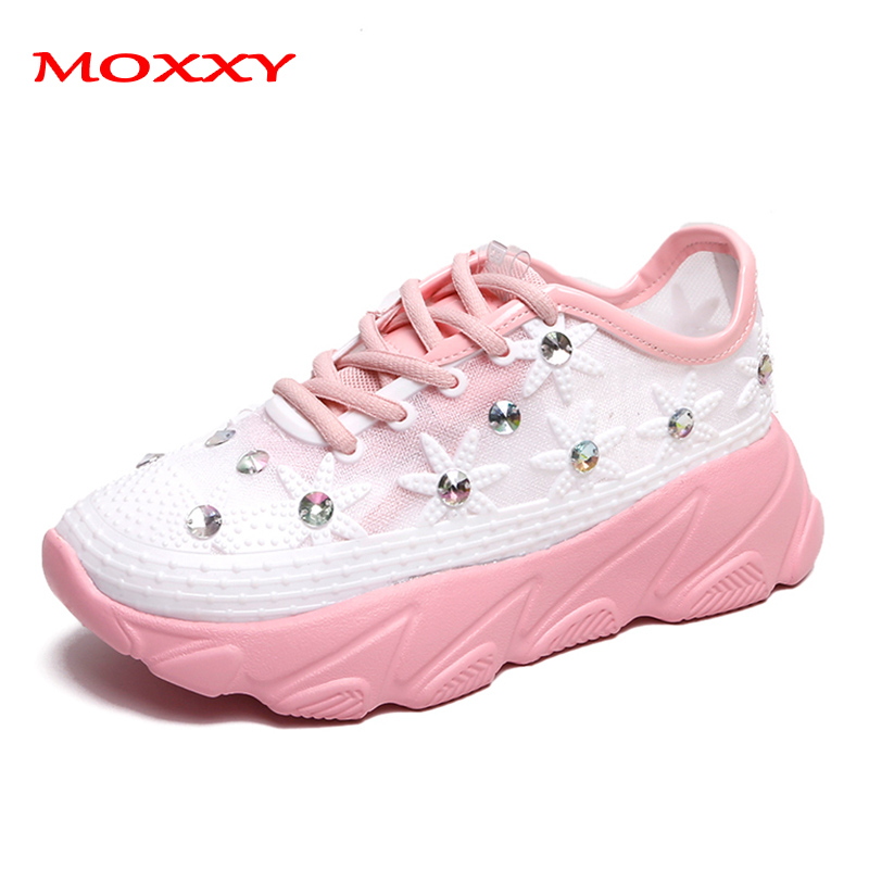 2019 New Pink White Green Yellow Sneakers Women Glitter Crystal Sneakers Female Running Shoes Woman Sneakers Chaussures Femme