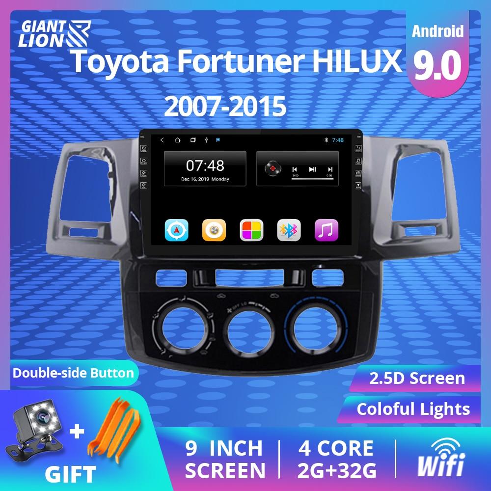 Reproductor multimedia con Android 9.0 y navegación GPS para Toyota, radio de coche 2Din con reproducción de vídeo, DVD, para Toyota Fortuner Hilux 2007 2008 2012 2014 2015