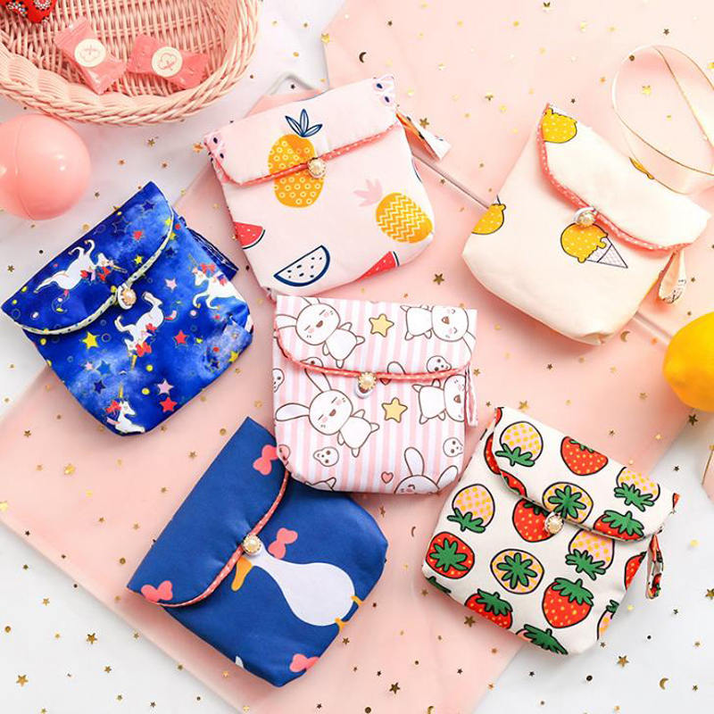 1 Pcs Cute Unicorn Rabbit Ice Cream Fruits Sanitary Napkin Storage Bag Credit Card Holder Organizer Coin Purse Bag Stationery