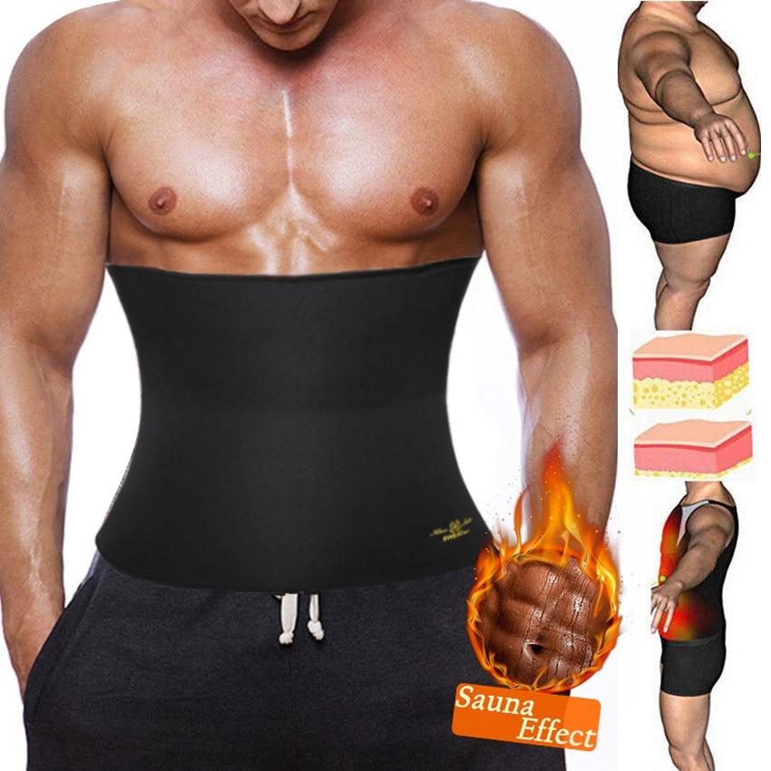 Men Neoprene Body Shaper Sauna Workout Waist Trainer Corset Trimmer Belt for Weight Loss Sweat Slimming Belly Belt Shapewear