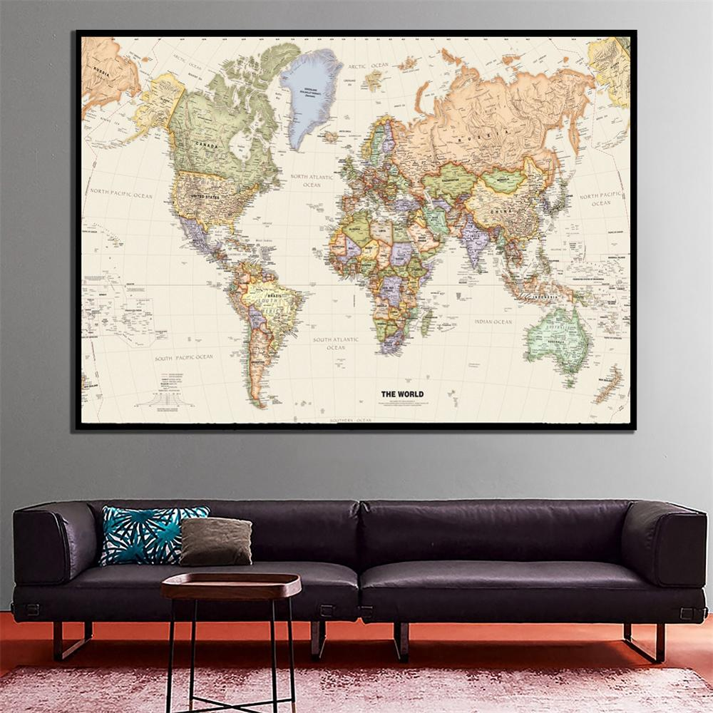 A2 Size World Map Mercator Projection Detailed Map Of Major Cities In Each Country Vinyl Spray Painting Bedroom Wall Decor Map
