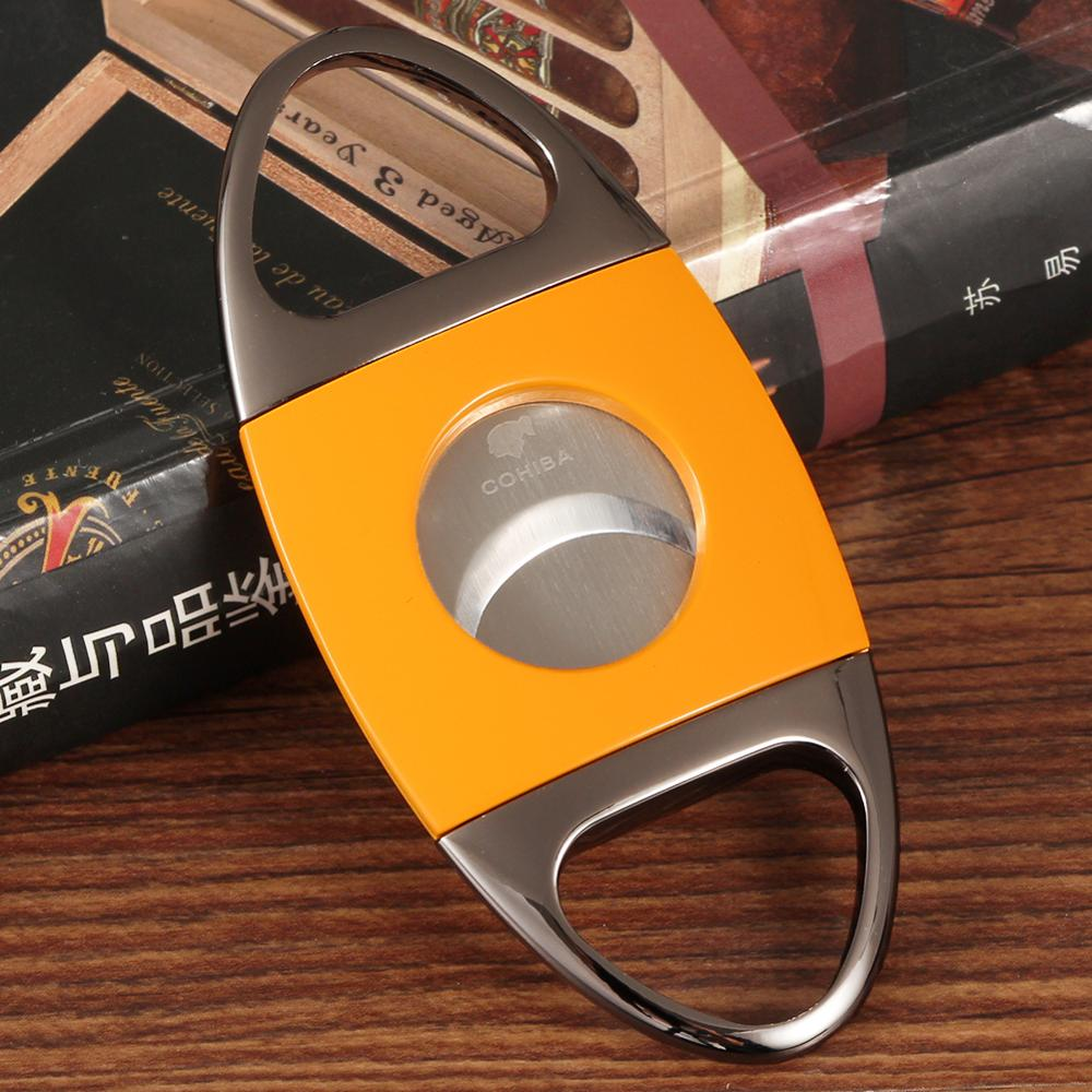 COHIBA Metal Cigar Cutter Pocket Stainless Steel Guillotina Portable Cigar Cutter Sharp Dual Blades Cuba Cigar Accessoriess Cigar Accessories     - title=