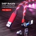 Новинка, магнитный USB-кабель 540 °, ленточный светодиодный зарядный кабель типа C, зарядное устройство, микро-магнитный телефонный USB-шнур для ...