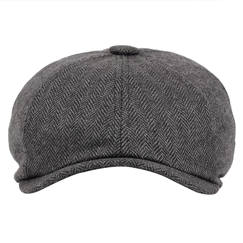 Men beret vintage Herringbone Gatsby Tweed peaky blinders hat Newsboy Beret Hat spring Flat Peaked Beret Hats 3