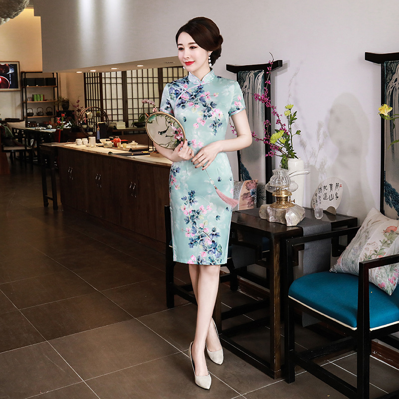 Manufacturers Direct Selling New Style Improved Cheongsam Short Skirt Chinese-style Slim Fit Retro Daily Life Large Size Mom WOM