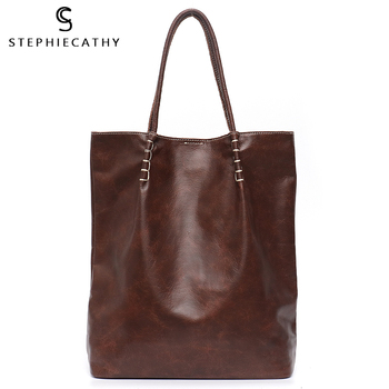 SC Large Luxury Leather Tote Bag For Women Vintage Laptop Handbag Ladies Casual Genuine Leather Shoulder Bag Female Shopping Bag