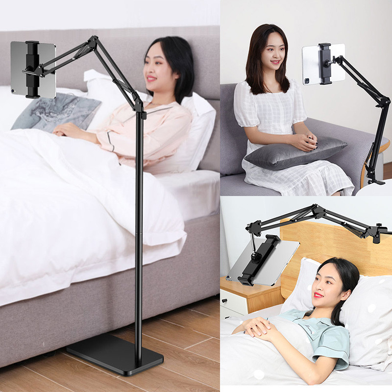 SMOYNG Aluminum Scalable Flexible Arm Floor Tablet Phone Stand Holder Support For Xiaomi iPad Pro12.9 Lounger Bed Mount Bracket