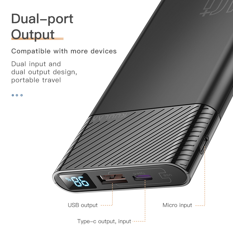 KUULAA Power Bank 10000mAh QC PD 3.0 PoverBank Fast Charging PowerBank 10000 mAh USB External Battery Charger For Xiaomi Mi 10 4