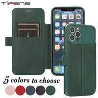 Custodia per telefono con Slot per schede Flip per iPhone 12 Mini 11 Pro X XS Max XR 6 6s 7 8 Plus SE 2020 Slide Camera Lens Protection custodia in pelle