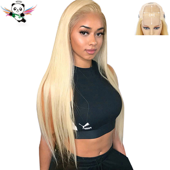 Brazilian Blonde 613 Closure Wig 150% Pre-plucked 4*4 Remy Blonde Straight Human Hair Lace Wigs For Women With Baby Hair Panda