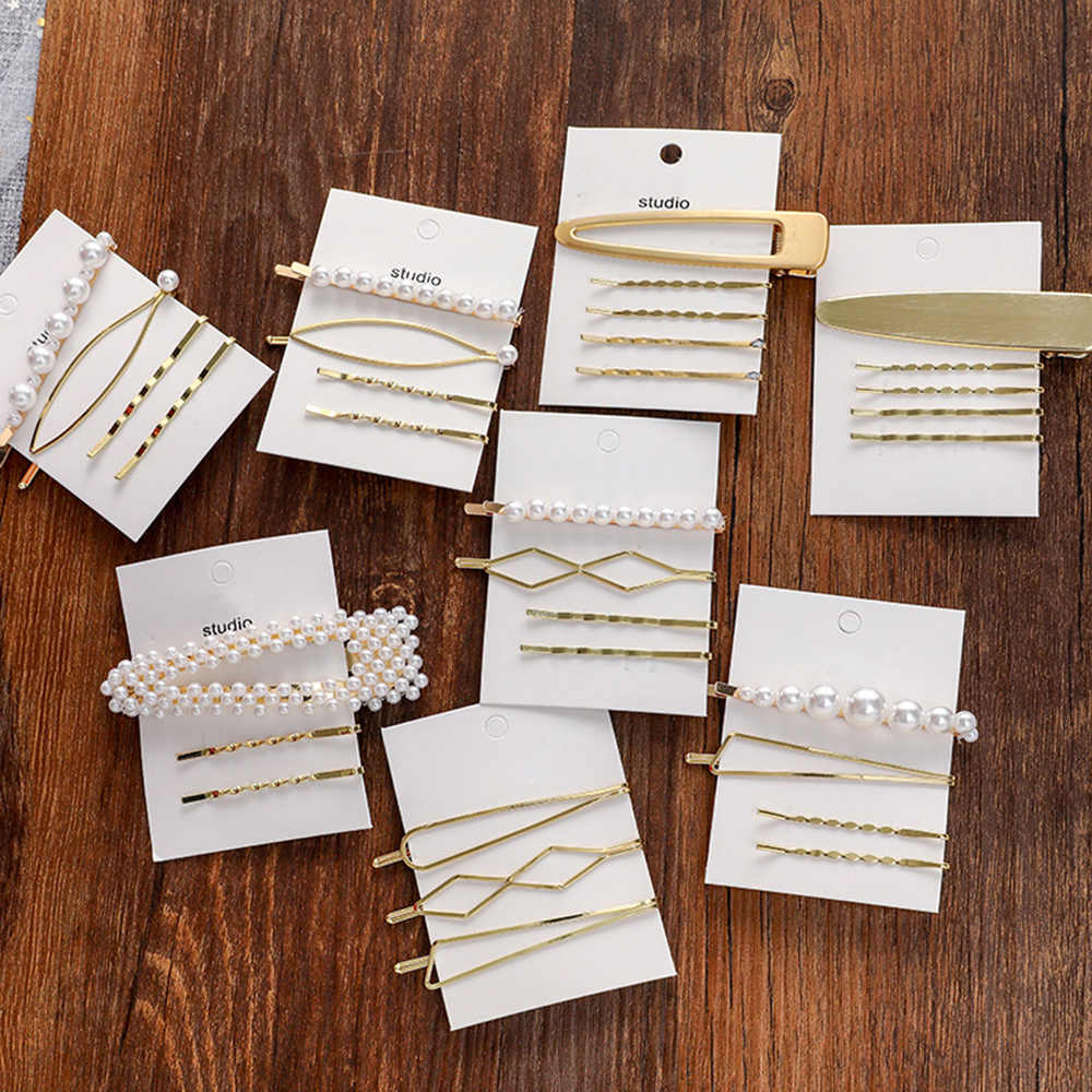 Fashion Girl Metal Pearl Hairpin Combination Minimalist Sweet Wind Bangs Clip Word Clip Side Barrette Clips Cards Hair Accessory