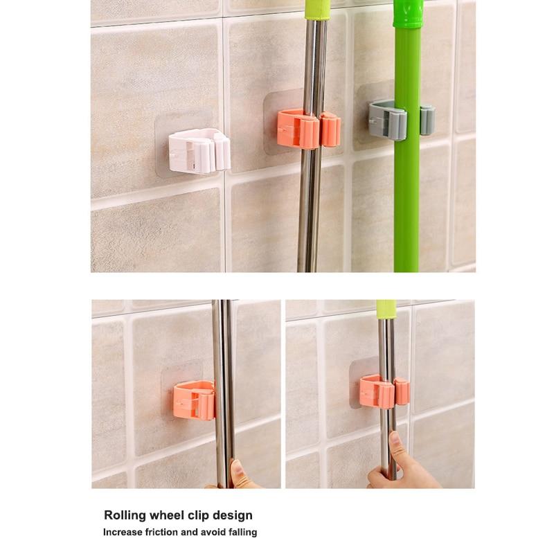 Mop Rack Wall Bathroom Broom Holder With Multipurpose And Used Behind Doors Kitchen Storage Tool 13