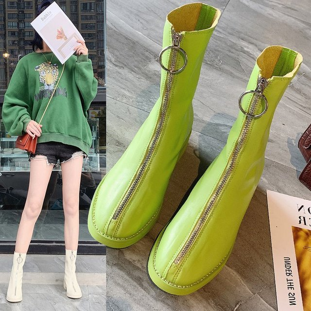 Concise Leisure Womens Boots Ankle Short Low Square Toe Solid Vintage Boots Zipper PU  Winter Big Size Shoes
