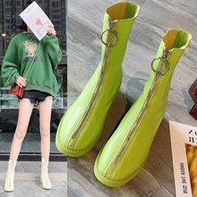 간결한 레저 여성 부츠 발목 짧은 낮은 광장 발가락 단색 빈티지 부츠 지퍼 pu 겨울 큰 크기 신발