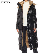 2021 Winter Oversize Jacket Women Bread Thick Classic Fashion Hooded Black Puffer Jacket Female Long White Duck Down Coat Ladies