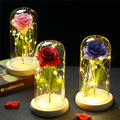 LED Light Flowers Eternal Rose Beauty Beast In Glass Cover Wedding Home Decor For Christmas Valentine's Day Decoration Gift