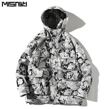 Misniki 2019 Autumn Man Jacket Casual Printing Men's Hoodie Coat Hip Hop Loose Multi-pocket design Jackets Streetwear JP49