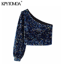 Vintage Sexy One Shoulder Sequined Blouses Women 2020 Fashion Long Sleeve Side Z