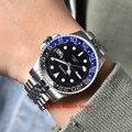 Parnis 40 мм механические часы для мужчин люксовый бренд керамический ободок светящийся водонепроницаемый сапфировый календарь GMT Автоматичес...