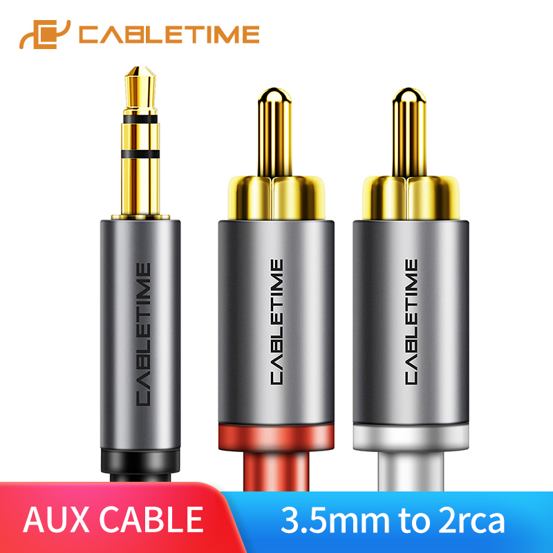 CABLETIME AUX 3.5mm Jack To 2 RCA Audio Cable M/M 3.5 RCA AUX Earphone Stereo Cable For DJ Amplifiers Audio Theater DVD C106