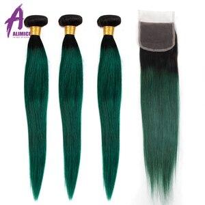 Image 1 - Alimice Ombre Bó Với Khóa 3 Ốp Lưng Với Khóa 4 T1B/Xanh Màu Đậm Gốc Brasil Thẳng Con Người tóc Bó