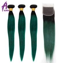 Alimice Ombre demetleri kapatma ile 3 demetleri kapatma ile 4 adet T1B/yeşil renkli koyu kökleri brezilyalı düz insan saçı demetleri
