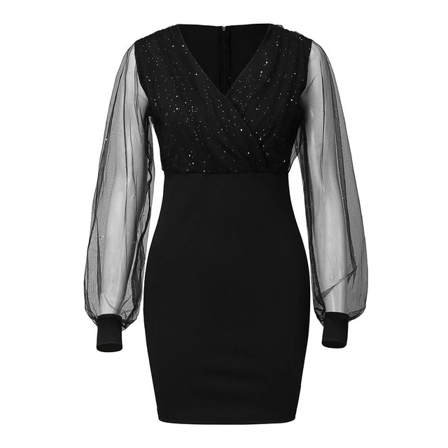 sexy short black dress with sparkles and deep v 5