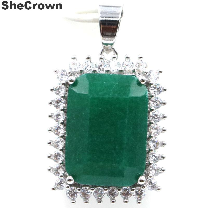 33x14mm SheCrown 2020 New Arrival Big Gemstone 18x13mm Real Green Emerald Red Ruby CZ Gift For Sister 925 Silver Pendant