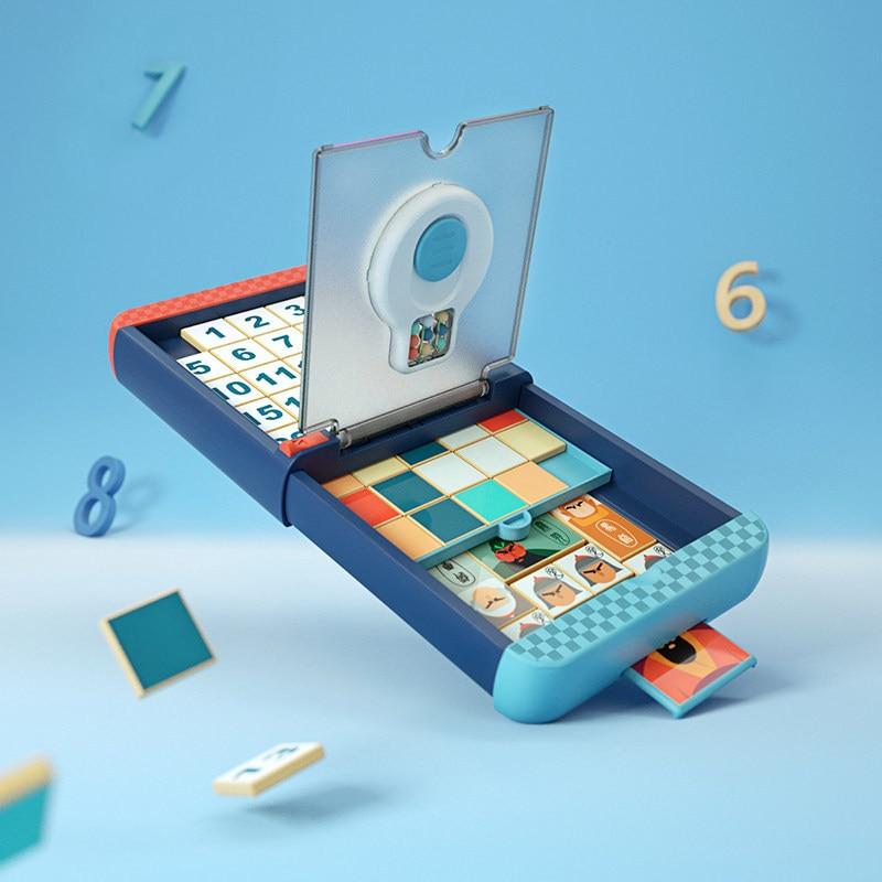 Игра для детей и взрослых, семейная доска 3 в 1, Волшебная скользящая головоломка-конструктор, игра для обучения мозгу, обучающая игрушка для ...