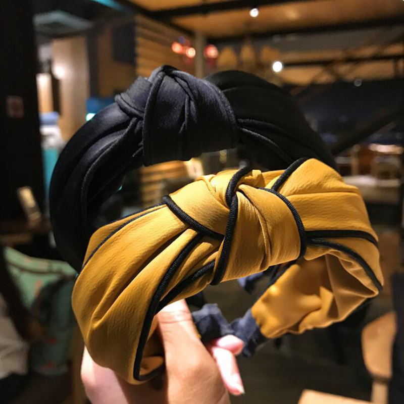 2020 Cross Knotted Women Hair Accessories Solid Color Wide Knotted Headband Retro Simple Fabric Head Buckle Press   Headwear