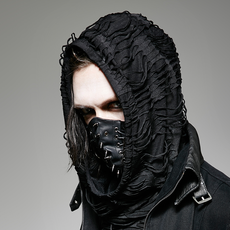 PUNK RAVE Punk Men Stylish Fahison Pin Rivet Mask Gothic Steampunk PU And Fake Suede Cool Man Accessories in Costume Accessories from Novelty Special Use