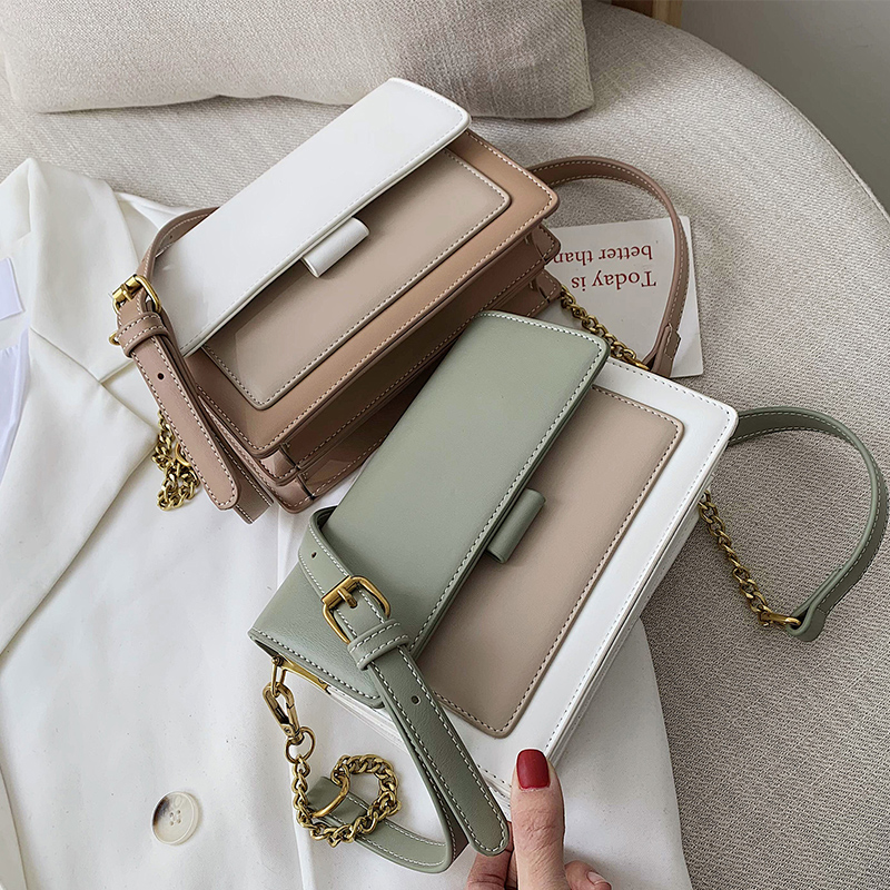 Contrast color Leather Crossbody Bags For Women 2021 Travel Handbag Fashion Simple Shoulder Simple Bag Ladies Cross Body Bag