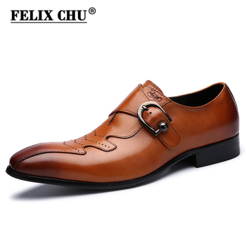 Italian Men Brown Dress Shoes Genuine Leather with Buckle